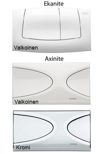 Axinite & Ekanite huuhtelu painikkeet - valkoinen - kromi