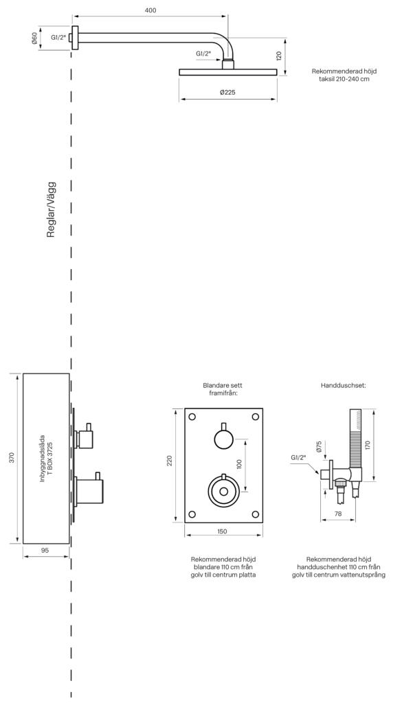 Tapwell BOX7268 Upotettava kattosuihku piirustus