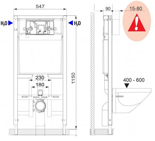 Fluidmaster LIV FIX-540 Ohut Seinä-wc-n Asennuselementti mittakuva