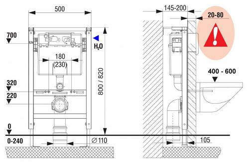 Fluidmaster LIV FIX-800 Matala Seinä-wc-n Asennuselementti mittakuva