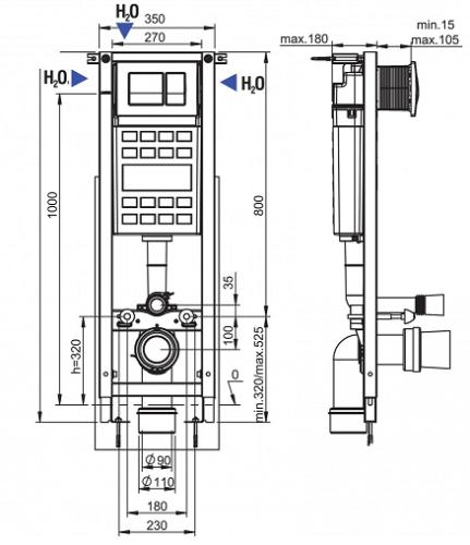 Fluidmaster Schwab Dublo Mini Kapea Seinä-wc-n Asennuselementti-mittakuva