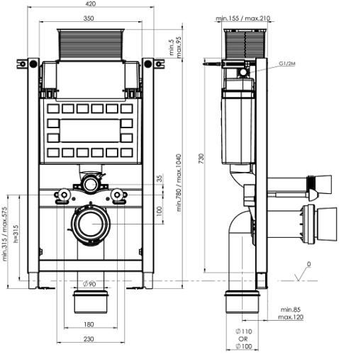 Fluidmaster Schwab Duplo Mini Matala Seinä-wc-n Asennuselementti-Mittakuva