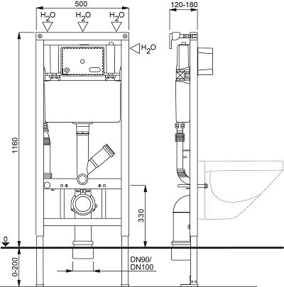 Fluidmaster Schwab WC 189 DWC Seinä-wc-n Asennuselementti hajunpoistolla mittakuva