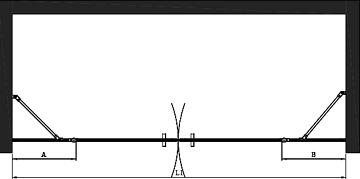 Hietakari - Sandriff BLÄK 744 NEW YORK Tilanjakaja kääntyvillä pariovilla joissa kiinteät osat -mittakuva