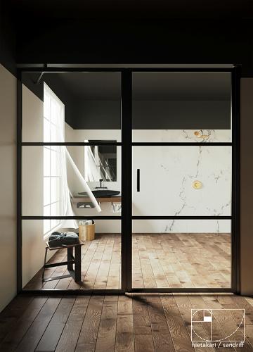 Hietakari - Sandriff BLÄK 745 TOKYO Tilanjakaja kiinteällä seinällä ja kääntyvällä ovella