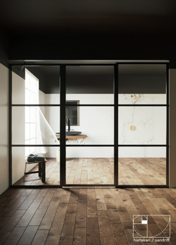 Hietakari - Sandriff BLÄK 746 TOKYO Tilanjakaja kiinteällä seinällä ja kääntyvällä ovella jossa kiinteä osa