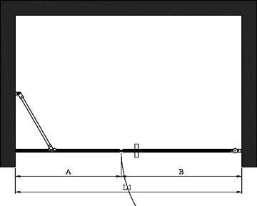 Hietakari - Sandriff BLÄK 750 PARIS Tilanjakaja kiinteällä seinällä ja kääntyvällä ovella -mittakuva
