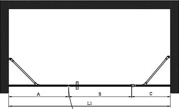 Hietakari - Sandriff BLÄK 751 PARIS Tilanjakaja kiinteällä seinällä ja kääntyvällä ovella jossa kiinteä osa -mittakuva