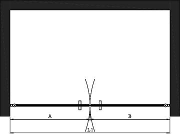 Hietakari - Sandriff BLÄK 752 PARIS Tilanjakaja kääntyvillä pariovilla -mittakuva