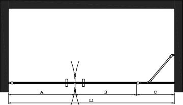 Hietakari - Sandriff BLÄK 753 PARIS Tilanjakaja kääntyvillä pariovilla joista toisessa kiinteä osa -mittakuva