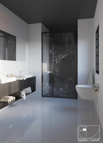Hietakari - Sandriff BLÄK 789 NEW YORK Kääntyvä suihkuovi kiinteällä osalla ja magneettilukituksella