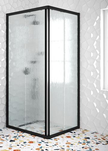 Hietakari - Sandriff Glisse411 Suihkunurkka kiinteillä seinillä ja liukuvilla ovilla (chinchilla kuviolasi)