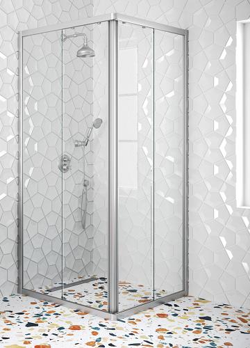 Hietakari - Sandriff Glisse411 Suihkunurkka kiinteillä seinillä ja liukuvilla ovilla (harmaa runko)