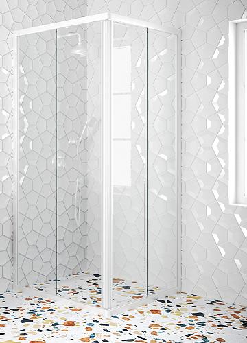 Hietakari - Sandriff Glisse411 Suihkunurkka kiinteillä seinillä ja liukuvilla ovilla (valkoinen runko)
