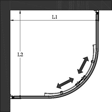 Hietakari - Sandriff Glisse421 Pienet Koot - Kaareva suihkunurkka kiinteillä seinillä ja liukuvilla ovilla mittakuva