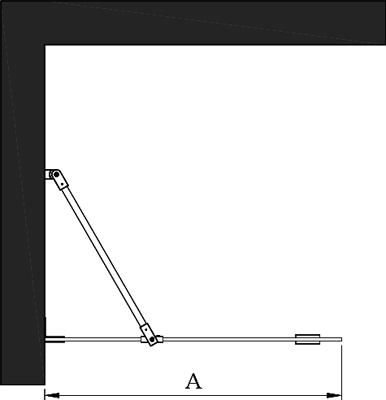Hietakari - Sandriff Vetro 511 Kiinteä suihkuseinä mittakuva