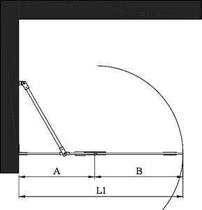 Hietakari - Sandriff Vetro 514 Kääntyvä suihkuseinä kiinteällä osalla Mittakuva