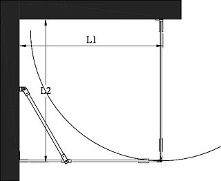 Hietakari - Sandriff Vetro-540 Suihkunurkka kiinteällä seinällä ja kääntyvällä ovella mittakuva