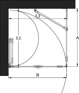Hietakari - Sandriff Vetro 541 VETRO Suihkunurkka kiinteällä seinällä ja taittuvalla ovella mittakuva