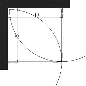 Hietakari - Sandriff Vetro 543 Suihkunurkka kääntyvillä ovilla mittakuva