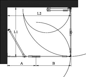 Hietakari - Sandriff Vetro 547 Suihkunurkka taittuvalla ovella ja kääntyvällä ovella jossa kiinteä osa (musta runko) mittakuva