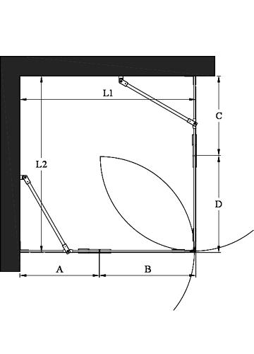 Hietakari - Sandriff Vetro 548 Suihkunurkka kääntyvillä ovilla joissa kiinteät osat mittakuva inspiration