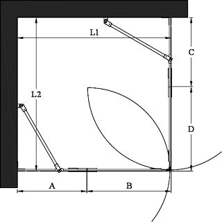 Hietakari - Sandriff Vetro 548 Suihkunurkka kääntyvillä ovilla joissa kiinteät osat mittakuva