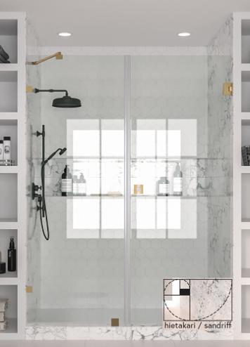Hietakari - Sandriff Vetro531 Tilanjakaja kiinteällä seinällä ja kääntyvällä ovella (messinkinen runko)