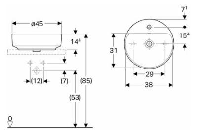 IDO Variform Pesuallas 450mm tason päälle pyöreä hanapaikalla mittakuva
