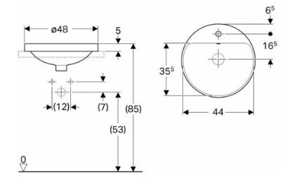 IDO Variform Pesuallas 480mm tasoon asennettava pyöreä hanapaikalla mittakuva