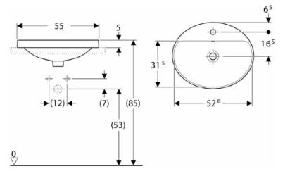 IDO Variform Pesuallas 550mm tasoon asennettava ovaali mittakuva