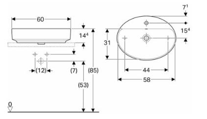 IDO Variform Pesuallas 600mm tason päälle ovaali mittakuva