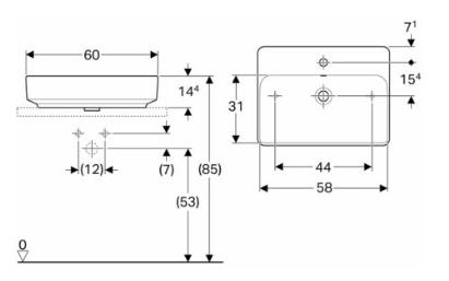 IDO Variform Pesuallas 600mm tason päälle suorakulmainen hanapaikalla (mittakuva)