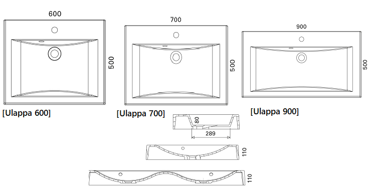 Otsoson Ulappa Valumarmoriallas 600-700-900 mittakuva