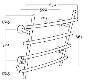 Rej Design BT Bamboo Quartet Pyyhekuivain mittakuva