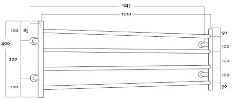 Rej Design Largo BTH 120404 Pyyhekuivain Mittakuva