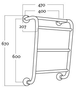 Rej Design Retro BT 464 Pyyhekuivain Mittakuva