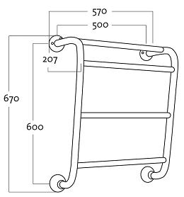 Rej Design Retro BT 564 Pyyhekuivain Mittakuva