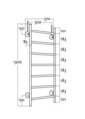 Rej Design Tango Bth 50130 pyyhekuivain mittakuva