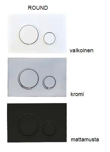 Round huuhtelupainike valkoinen, kromi, mattamusta