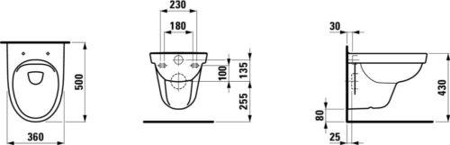 Seinä-WC Laufen 5657508 mittakuva