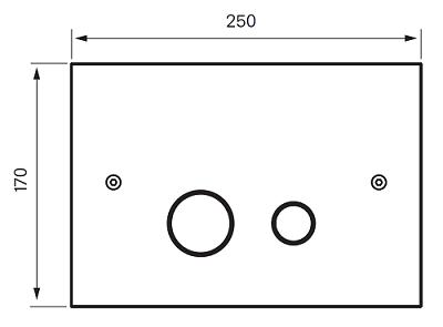Tapwell DUO112 Seinä-Wc huuhtelupainike piirrustus
