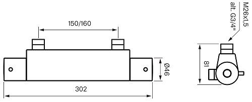 Tapwell EVM 168-150 Termostaattihana Mittakuva