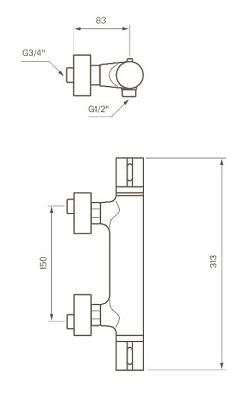 Tapwell SK168 Termostaattihana Mittakuva