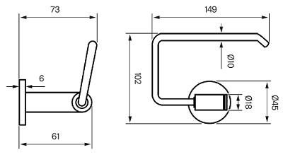 Tapwell TA235 WC-paperiteline Mittakuva