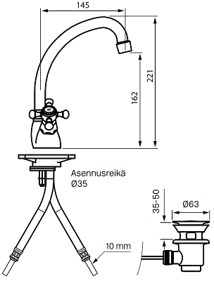 Tapwell VLV077 Pesuallashana Piirustus
