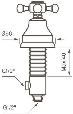 Tapwell VLV284 Pesukoneventtiili Mittakuva