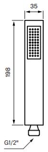 Tapwell ZDOC068 Käsisuihku Mittakuva