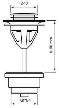 Tawpell 58200 Universaali Pop-up Pohjaventtiili Mittakuva