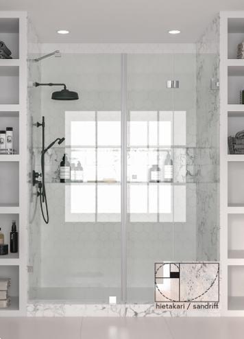 VETRO 532 Tilanjakaja kiinteällä seinällä ja taittuvalla ovella (krominen runko)